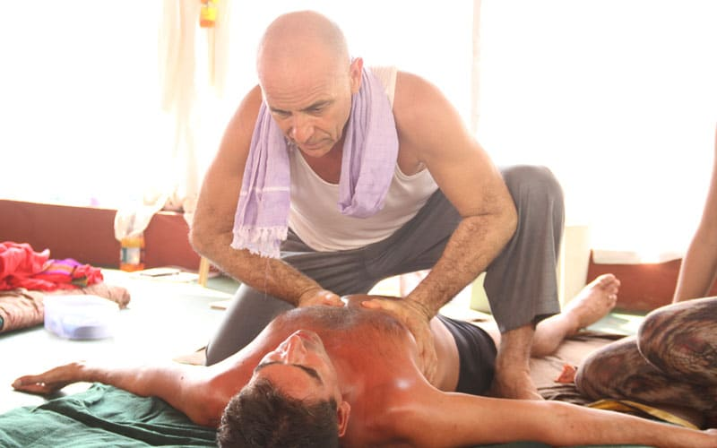 Ananta performing AYM massages techniques